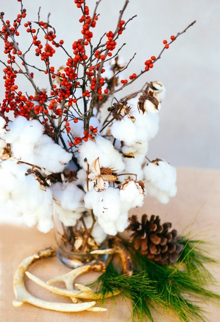 Cotton and pinecones turned into holiday decor.