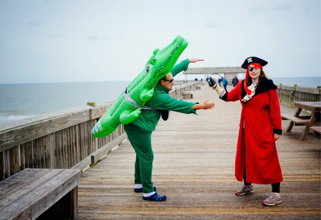 Alligator eating a pirate on Tybee Island.