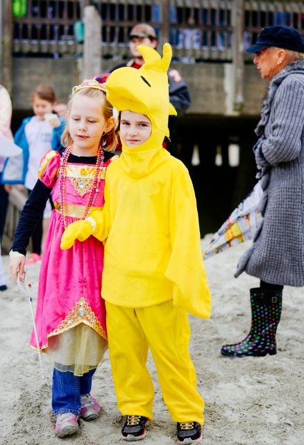 Kids dressed up to take the polar plunge on Tybee Island.