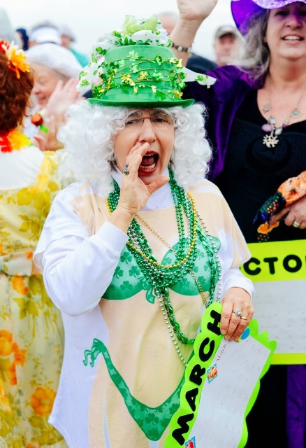 Granny dressed up in St. Patrick's gear ready to take the polar plunge on Tybee Island.