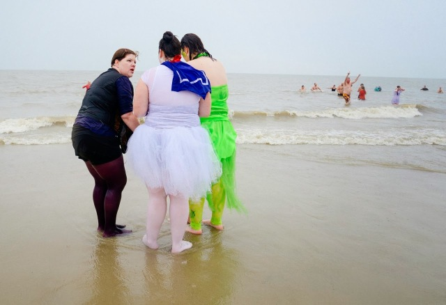 Wet and cold, while dressed up at the Polar Plunge on Tybee Island.