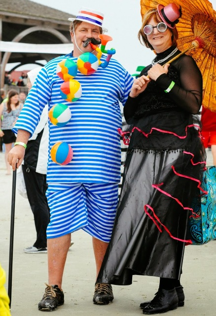 People dressed in silly costumes for the polar plunge on Tybee Island.